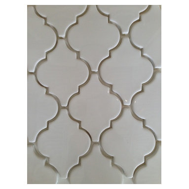 Mission Stone Tile - Smooth (Flat) Arabesque Tile - White, 1 Square Foot - Sold by the square foot