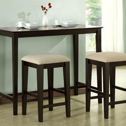 Monarch Specialties - 3-Pc Kitchen Counter Set - Set includes one table and two stools. Table: . Straight legs and sleek lines for a minimal look. Casual contemporary appeal. Made from hardwoods and premium wood veneers. Cappuccino finish. 48 in. W x 24 in. D x 36 in. H (35 lbs.)Stool: . Beige chenille padded cushion. Sleek square legs. Simple yet versatile. 16 in. W x 16 in. D x 24 in. H (26 lbs.)