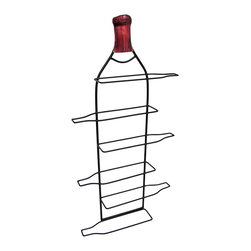 Metal Bottle Shaped Wall Mounted 6 Bottle Wine Rack - Add an elegant accent to your home or restaurant with this bottle shaped, wall mounted wine rack. It measures 31 1/4 inches tall, 16 inches wide, approximately 3 1/4 inches deep, and it accommodates up to 6 bottles of your favorite vino. It mounts to the wall with a single nail or screw by the metal hanger on the back. This piece makes a lovely housewarming gift, or a thoughtful gift for wine connoisseurs.