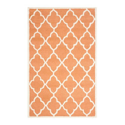 Safavieh - Chardae Hand Tufted Rug, Coral / Ivory 4' X 6' - Construction Method: HAND TUFTED - LOOP & CUT. Country of Origin: India. Care Instructions: Vacuum Regularly To Prevent Dust And Crumbs From Settling Into The Roots Of The Fibers. Avoid Direct And Continuous Exposure To Sunlight. Use Rug Protectors Under The Legs Of Heavy Furniture To Avoid Flattening Piles. Do Not Pull Loose Ends; Clip Them With Scissors To Remove. Turn Carpet Occasionally To Equalize Wear. Remove Spills Immediately. Bring classic style to your bedroom, living room, or home office with a richly-dimensional Safavieh Cambridge Rug. Artfully hand-tufted, these plush wool area rugs are crafted with plush and loop textures to highlight timeless motifs updated for today's