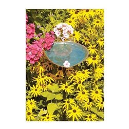 Achla - Aspen Leaf Bird Bath in Verdi Finish - Includes Roman bronze stake. 90 days warranty. Made from brass. Made in India. No assembly required. 8.5 in. W x 12.5 in. D x 3 in. H (1 lbs.)