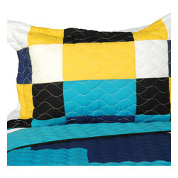 Blancho Bedding - [You Wonder] Vermicelli-Quilted Patchwork Geometric Quilt Set Full/Queen - The [You Wonder] 100% TC Fabric Quilt Set (Full/Queen Size) includes a quilt and two quilted shams. This pretty quilt set is handmade and some quilting may be slightly curved. The pretty handmade quilt set make a stunning and warm gift for you and a loved one! For convenience, all bedding components are machine washable on cold in the gentle cycle and can be dried on low heat and will last for years. Intricate vermicelli quilting provides a rich surface texture. This vermicelli-quilted quilt set will refresh your bedroom decor instantly, create a cozy and inviting atmosphere and is sure to transform the look of your bedroom or guest room. (Dimensions: Full/Queen quilt: 90.5 inches x 90.5 inches; Standard sham: 24 inches x 33.8 inches)