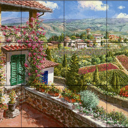 The Tile Mural Store (USA) - Tile Mural - Castello Di Verrazano - Kitchen Backsplash Ideas - This beautiful artwork by Sam Park has been digitally reproduced for tiles and depicts a colorful Italian vineyard and countryside.  Our kitchen tile murals are perfect to use as part of your kitchen backsplash tile project. Add interest to your kitchen backsplash wall with a decorative tile mural. If you are remodeling your kitchen or building a new home, install a tile mural above your stove top or install a tile mural above your sink. Adding a decorative tile mural to your backsplash is a wonderful idea and will liven up the space behind your cooktop or sink.