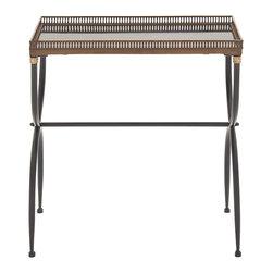 Benzara - Beautiful and Unique Style Metal Marble Tray Table Home Decor - Description: