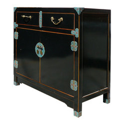 Golden Lotus - Unique Chinese Black Lacquer Cloisonne Deco Side Table Cabinet - This is a Chinese black lacquer side table which is made of solid elm wood.  Especially, the front and leg have turquoise cloisonne deco on it.  It is an unusual sideboard in market.  It should be gorgeous to put at your entrance hallway or use as end table.