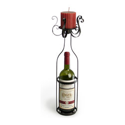 Danya B. - Wine bottle wrapper candle holder - This one-stop romantic gift combines everything you need for a enchanting evening at home: a stand that includes wine and candlelight. Bring a lovely ambience to your table with this forged metal stand with gorgeous scrollwork as your centerpiece.