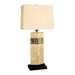 Mario Industries - Capiz Shell Diamond Design Table Lamp - Includes natural linen shade and matching finial. Capiz shell with gold metal insert. Metal section with swirl design. Sits upon a black base with matching black ball finial. Embossed metal design. Weighted base for added stability. Three way socket. Maximum wattage: 150 Watts. UL listed. Made from metal and resin. Multicolor. No assembly required. Shade: 10.16 in. L x 9.15 in. W x 12 in. H. Overall: 16 in. L x 10 in. W x 32.5 in. H (11.5 lbs.)