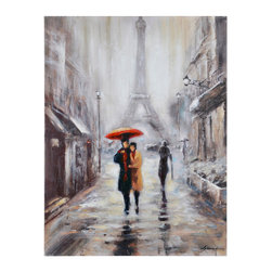 Ren-Wil - Ren-Wil Broadway II Wall Art - A classic Parisian scene this mostly monotone image is brought to life with a splash of Aurora Red. Printed on canvas with hand-painted accents.