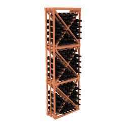 Wine Racks America - Full Height Diamond Bin Kit in Redwood, (Unstained) - A unique wine rack designed for longevity and simple wine storage. Engineered with our modular cellar specifications for seamless integration with any of our modular wine rack kits. Functions well as either a freestanding wine rack or as part of a complete wine cellar design.