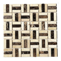 Premier Worldwide - Checker Marble Mosaic Blend 12X12 Polished - This checker blend Marble tile is a perfect blend of Cream and dark browns - the most elegant combination of colors. Best uses in backsplashes, accent walls, floors and tub/shower surrounds.   Also known as Emperador Dark, Crema Marfil blend