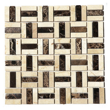 Checker Marble Mosaic Blend 12X12 Polished - This checker blend Marble tile is a perfect blend of Cream and dark browns - the most elegant combination of colors. Best uses in backsplashes, accent walls, floors and tub/shower surrounds.   Also known as Emperador Dark, Crema Marfil blend