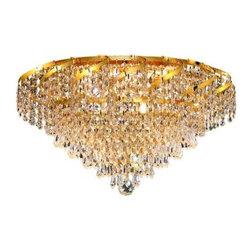 Elegant Lighting - Elegant Lighting ECA4F20G Belenus 8-Light, Single-Tier Flush Mount Crystal Chand - Elegant Lighting ECA4F20G Belenus 8-Light, Single-Tier Flush Mount Crystal Chandelier, Finished in Gold with Clear CrystalsElegant Lighting ECA4F20G Features:
