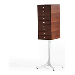 Pedestal Cabinet - Give your goods the VIP treatment with this Pedestal Cabinet. Featuring a stack of elegant drawers elevated on a pedestal base, the piece is both unique and functional.