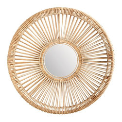 Lazy Susan - Lazy Susan LZS-466025 Natural Split Rattan Spoke Mirror - Small - Old west meets tropical island. Handmade from natural rattan and available in two sizes, this one-of-a-kind mirror will bring a casual elegance to your decor.