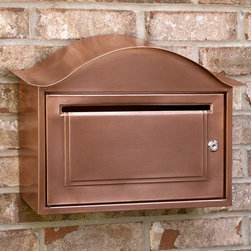 Arched Locking Wall-Mount Copper Mailbox - Made of solid copper, this mailbox is equipped with a locking mechanism for added security.