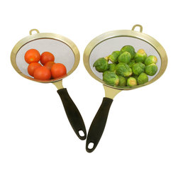 Cookpro - Cook Pro 2PC. Stainless Steel Strainers with Bakelite Handles - Two Stainless Steel strainers with long Bakelite handles for comfortable handling.  Constructed with wide Stainless Steel rims and includes a hanging loop.
