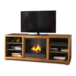 Real Flame - Marco Real Flame Walnut Gel Fuel Fireplace - This modern indoor fireplace offers all the ambiance you would expect from a more conventional installation. This gel-fueled fireplace fits any size television and is sure to make an eye-catching addition to your design theme or decor.