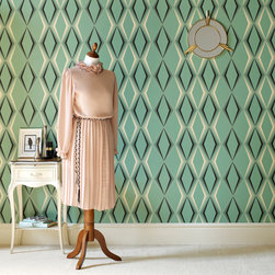 Graham & Brown - Deco Diamond Wallpaper - Inspired by 1930s glamour, this art-deco pattern takes its cue from the decade's emerald onyx ornaments and enamel kitchenware.