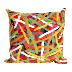 """Trans-Ocean - 20""""x20"""" Visions II Pick Up Sticks Jewel Pillow - The highly detailed painterly effect is achieved by Liora Mannes patented Lamontage process which combines hand crafted art with cutting edge technology.These pillows are made with 100% polyester microfiber for an extra soft hand, and a 100% Polyester Insert.Liora Manne's pillows are suitable for Indoors or Outdoors, are antimicrobial, have a removable cover with a zipper closure for easy-care, and are handwashable. Made in USA."""