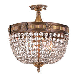 """Worldwide Lighting - Winchester 4 Light Antique Bronze Finish & Crystal Semi Flush Ceiling Light 16"""" - This stunning 4-Light Winchester Flush Mount only uses the best quality material and workmanship ensuring a beautiful heirloom quality piece. Featuring a beautiful Antique Bronze finish and finely cut premium grade clear crystals with a lead content of 30%, this elegant ceiling light will give any room sparkle and glamour."""
