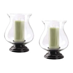 Clear Globe Tabletop Hurricane Candleholders - Set of 2 - Create an elegant tablescape with this set of globe hurricane candle holders.  Their design is simple, yet sophisticated, perfect for the dining room table or a more casual setting.