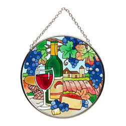 Joan Baker Designs - Wine Country Painted Small Round Art Glass Window Suncatcher Sun Catcher - Picnic in the arbor with this classic hand-painted art glass tea light holder featuring a tempting spread of wine and cheese under a trellis of ripe, blue grapes.
