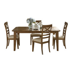 Liberty Furniture - Liberty Furniture Hearthstone 5 Piece 108x44 Dining Room Set in Oak, Medium Wood - Everyone is drawn to the past, a simpler time, a simpler way of life. Hearthstone draws it's inspiration from the past with a true and honest design. With vintage appeal, Hearthstone is a casual, rustic style that never goes out of fashion. Elements of shaker and craftsman designs are combined with a rustic oak finish and accents of slate. What's included: Dining Table (1), Side Chair (4).