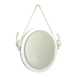 "PinkPianos - 16"" Round Rope Mirror - The original vintage belt mirror has been transformed and is available in white!"