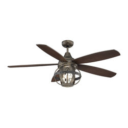 """Savoy House - Alsace 52"""" Ceiling Fan - Alsace is a sophisticated collection of inspired by the wine barrels popularly used in French vineyards. Bold in scale and commanding in presence, Alsace has riveted iron details, and a Reclaimed Wood finish. This fan is upscale and relaxed, making it the perfect complement for any room."""