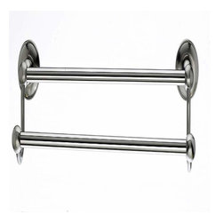 """Top Knobs - Top Knobs Edwardian 18"""" Double Towel Rod Satin Nickel Smooth Backplate - Top Knobs Edwardian 18"""" Double Towel Rod Satin Nickel Smooth Backplate"""