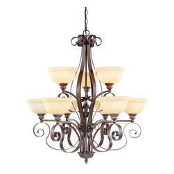 Livex Lighting - 9 Light 900W Chandelier With Medium Bulb Base And Vintage Scavo Glass - Livex Lighting is a manufacturer and distributor of decorative residential lighting.