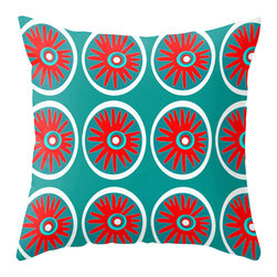 Crash Pad Designs - Modern Outdoor Pillow, Red and Turquoise - Add a splash of color  to your porch, patio, or deck. Perfect in any outdoor setting. Double sided print. Fabric is a waterproof and mildew proof polyester.