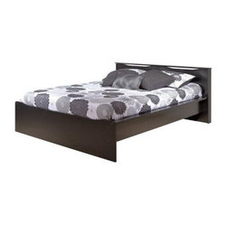 Coal Harbor Queen Platform Bed with Integrated Headboard - Black