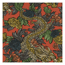 Red Chinoiserie Dragon Fabric - Modern chinoiserie dragon in red, teal, gray & gold. So chic it will steal the show in any room.Recover your chair. Upholster a wall. Create a framed piece of art. Sew your own home accent. Whatever your decorating project, Loom's gorgeous, designer fabrics by the yard are up to the challenge!