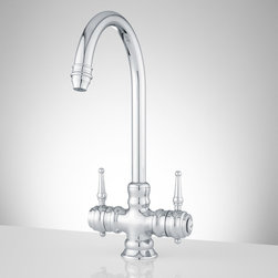 Delia Single-Hole Kitchen Faucet - This stylish single-hole faucet will make a great addition to your kitchen. It features hot and cold index buttons on either side of the levers in old fashioned script lettering, giving it a traditional look that blends well with any kitchen.