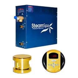 Steam Spa - Steam Spa OA600GD SteamSpa Oasis 6kw Steam Generator Package in Polished Brass - With this basic package you will get everything you need to begin experiencing a deep relaxing steam sauna right in your very home. Included is an aroma steamhead for bathing in your favorite fragrance and a stylish control panel to adjust your steam sauna experience to the perfect degree. The perfect steam sauna experience is exactly what we had in mind with SteamSpa's Steam Generators. Easy to install and even easier to operate these steam generators produce a consistent flow of soft and soothing steam thanks to the cleverly designed dual tank technology while minimizing any distracting operational noises. Compact in size and design SteamSpa's generators are suited for use with any bath or shower room with plenty of sizes and accessory options to make sure there is a perfect setup to meet your needs. As easy to install and operate as our generators already are, the featured Auto Drain system takes care of the maintenance by purging the generator of any excess water/minerals that would later contribute to issues down the line. All in all you get a safe, quite, reliable, luxurious steam sauna experience with our compact powerhouse of a steam generator.