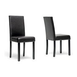 Wholesale Interiors - Adele Dark Brown Modern Dining Chair - The Adele Modern Dining Chair is packed with value, style, and convenience. This versatile little number features a simple design and neutral dark brown faux leather to complement your decor. A birch frame includes a foam-padded seat, black lacquer finish, and non-marking feet. Made in Malaysia, the Adele Designer Dining Chair requires assembly. To clean, wipe with a damp cloth. A counter stool option is also available (sold separately).
