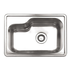Whitehaus - Noah's Single Bowl Drop-in Kitchen Sink - Includes sink template. 18/8 chrome and nickel content. Full undercoat under sound deadening pads. 3.5 in. offset center drain opening. Made from 18 gauge stainless steel. Brushed stainless steel color. Inside: 19.63 in. L x 12.88 in. W x 7.88 in. H. Outer: 22.5 in. L x 15.88 in. W (17 lbs.). Warranty. Care and Maintenance