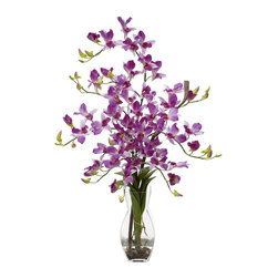 Nearly Natural - Dendrobium with Vase Silk Flower Arrangement - There are 1,200 species of Dendrobium orchids in existence, but there's only one floral arrangement like this one! Standing at 35' tall in a vase that compliments any setting, these cool and colorful flowers can provide exactly the type of setting that you're hoping for, whether it's just a splash of color to a room, or that perfect accent to a romantic dinner. Complete w/ faux water, these beauties will stay fresh forever!