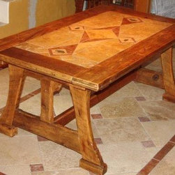 """""""Ginko""""  photo 1/1 - Dining table, hand-cut stone, reclaimed pine. 42 3/8"""" W x 70 1/2"""" L x 30 1/2"""" H"""