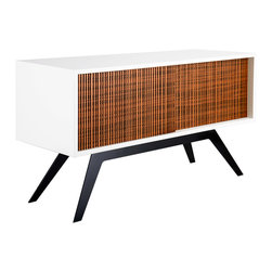 Eastvold Furniture - Elko Credenza Small - Linear - Eastvold Furniture - While designed for a more compact space, the Elko Credenza Small delivers enough storage capacity for your media equipment, books, clothes, dishes or whatever else you'd like to conceal. This combination of white cabinet and engineered bamboo doors is a fresh addition to the line. Reinforced mitered joinery and two, grain-matched wood doors roll open effortlessly, revealing two adjustable shelves and wire management portals that allow for numerous media configurations. The cabinet is finished with a durable, washable white lacquer making the Elko Credenza Small is a perfect fit for your office or living space, no matter what size. Made in Minnesota.