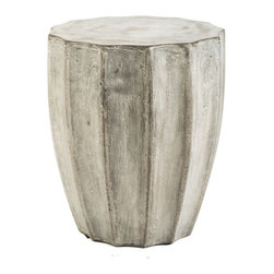 Repose Home - Jagged Table - Stone and natural fibers cements make this side table simple and practical. Maintain table's honed beauty and natural intonations with any protective wax or stone floor polish. Handmade in an eco-friendly Zero emission facility. Indoor and protected outdoor use.