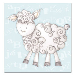 """Doodlefish - Shelby Sheep Blue - Shelby Sheep is an 18"""" x 18"""" Gallery Wrapped Giclee Print of a mix of graphical elements and a drawing of a fluffy sheep with a curly tail.  Choose the background color and the background pattern to match your child's room,  Add your child's name or even your favorite pet.  This artwork is also available mounted in a painted frame of your choice.    The finished size of the mounted piece is approximately 22""""x22""""."""