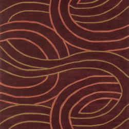 "Loloi Rugs - Loloi Rugs Grant Collection - Red, 3'-6"" x 5'-6"" - Hand-tufted in China of 100-percent polyester, the Grant Collection will give you the fashion interior you've always dreamed of. At once sleek yet softly contemporary, these hip patterns include boxed swirls, undulating stripes and dramatically scaled florals and botanicals. With its pile-and- loop construction, each Grant Collection rug will infuse a rich texture to your home like no other."