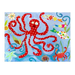 GreenBox Art + Culture - GreenBox Art + Culture Red Octopus Stretched Canvas Art by Carter C... - Oopsy Daisy Red Octopus Stretched Canvas Art by Carter Carpin, 24 by 18-InchChildren's wall art featuring ocean life and polka dot red octopus.Gorgeous giclee wall artProudly handcrafted in the united states from artist quality canvas and then hand stretched around a wood frameEach beautiful piece includes a sawtooth for hanging and artist biographyDimensions(L x W x H):24  inches x 1.5  inches x 18  inches Weight:1.6  pounds