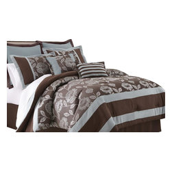 Adara 8-piece Floral Jacquard Comforter Set King Chocolate - Bring adventure into your room with this Jacquard Comforter Set. The polyester jacquard gives a beautiful look and feel to the top of bed with a touch of sheen. The polyester filling gives a fluffiness to this comforter set while the bar tacking details give a more formal finished look.