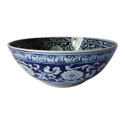 Used Chinese Blue & White Ceramic Bowl - Just reduced from $850!    This oversized, beautifully hand-painted Chinese ceramic bowl is classic and elegant.  We love the blue and white motif. This bowl is nothing short of spectacular and it is in great condition.