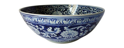 Chinese Blue & White Ceramic Bowl - Just reduced from $850! Special white glove delivery rates of $99 or less apply in the San Francisco Bay Area! Shipping charges will be calculated at checkout. This oversized, beautifully hand-painted Chinese ceramic bowl is classic and elegant.  We love the blue and white motif. This bowl is nothing short of spectacular and it is in great condition.