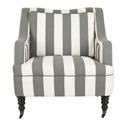 Safavieh - Homer Arm Chair - Sloping arm rests, pillow backrest and t-shaped seat cushion make the Homer arm chair a go-to classic. A bold grey and white awning stripe is a fresh, fun look; graceful turned birch wood legs on casters give Homer a contemporary spin.