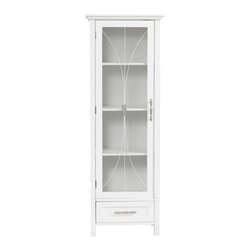 Elegant Home Fashions - Delaney Linen Cabinet with 1 Door and 1 Bottom Drawer - The Delaney Linen Tower Storage Cabinet in a white finish from Elegant Home Fashions features an elegant crown molded top with one door and one drawer offering storage with style for your bathroom.  It also offers adjustable shelves making it easy to store items of different sizes. The metal glider drawer allows for easy open and close operation. The tempered glass-paneled doors decorated with Cathedral style wire providing a looming view into the cabinet.  It features metal handles for easy opening. This sturdy cabinet comes with assembly hardware.